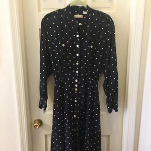 Vintage Secretary Mad Men Polka Dot Dress